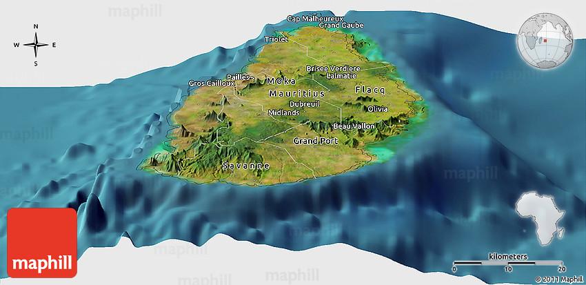 Satellite Panoramic Map Of Mauritius - Mauritius maps