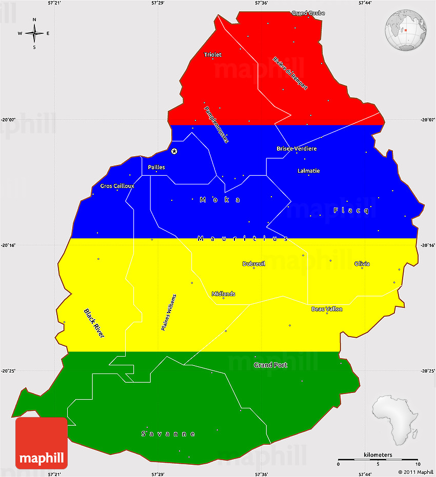 Flag Simple Map Of Mauritius - Mauritius map