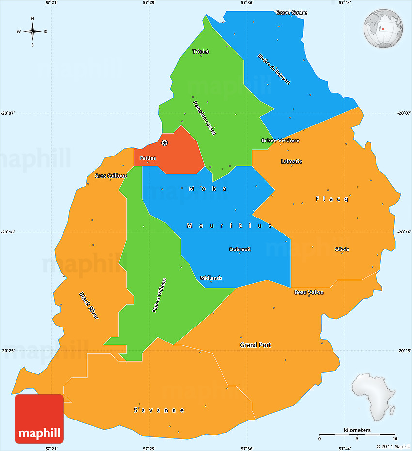 Political Simple Map Of Mauritius Political Shades Outside - Political map of mauritius