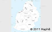 Silver Style Simple Map of Mauritius