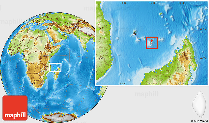 Flag Location Map of Mayotte physical outside