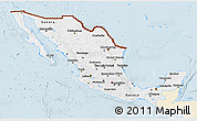 Classic Style 3D Map of Mexico, single color outside