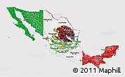 Flag 3D Map of Mexico, flag centered