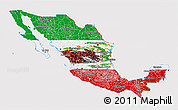 Flag 3D Map of Mexico, flag rotated