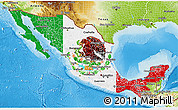 Flag 3D Map of Mexico, physical outside