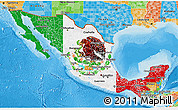 Flag 3D Map of Mexico, political outside