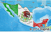 Flag 3D Map of Mexico, political shades outside