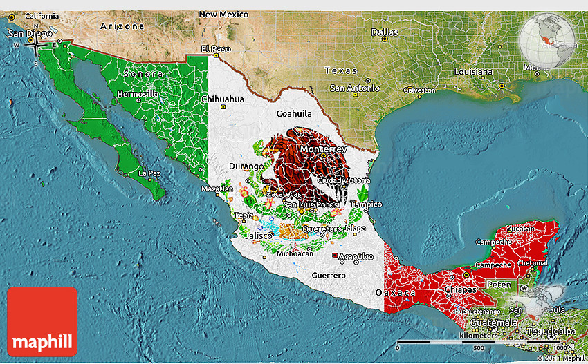 Flag 3d Map Of Mexico Satellite Outside