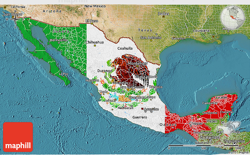 flag 3d map of mexico satellite outside flag centered
