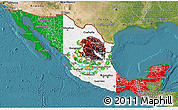 Flag 3D Map of Mexico, satellite outside