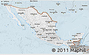 Gray 3D Map of Mexico
