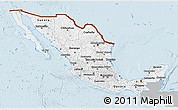 Gray 3D Map of Mexico, single color outside