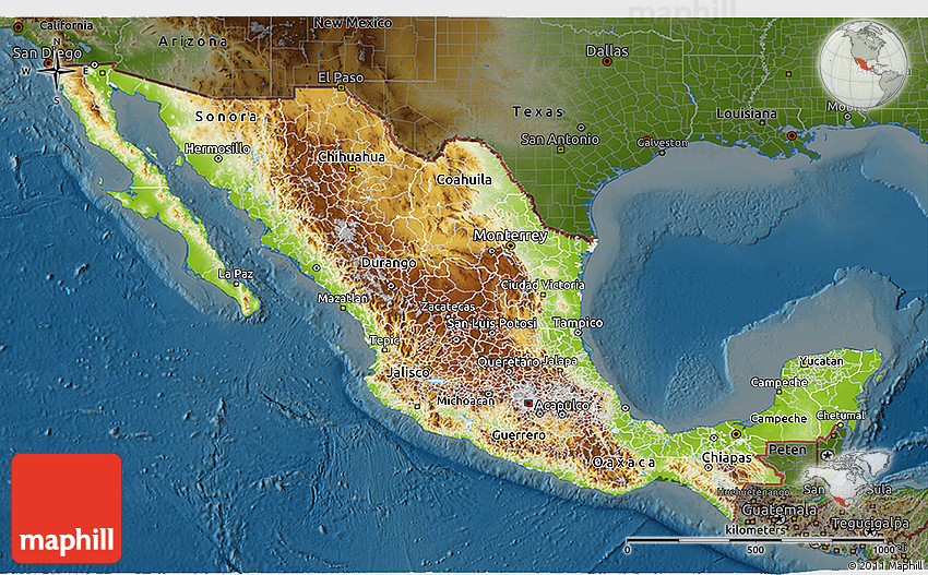 Physical 3D Map of Mexico darken – Geographical Map of Mexico