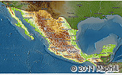 Physical 3D Map of Mexico, darken