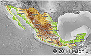 Physical 3D Map of Mexico, desaturated