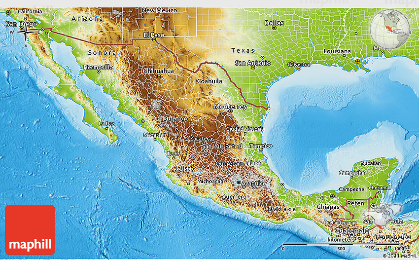 physical 3d map of mexico