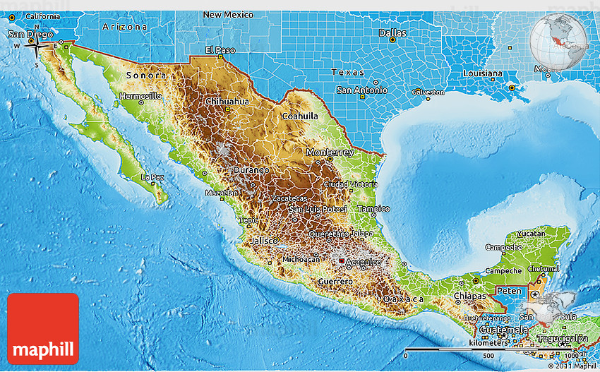 Physical 3D Map of Mexico political shades outside shaded relief sea
