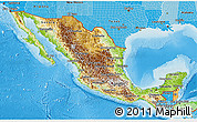 Physical 3D Map of Mexico, political shades outside, shaded relief sea