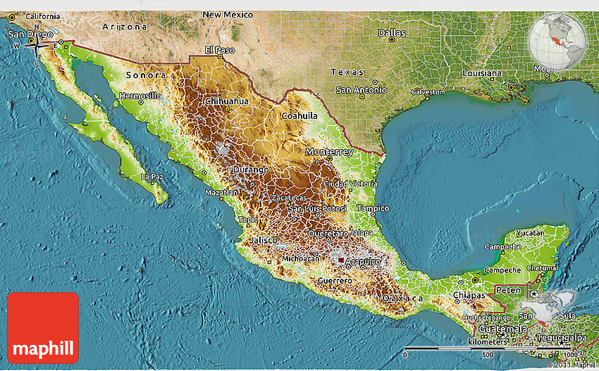Physical 3D Map of Mexico satellite outside – Geographical Map of Mexico