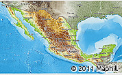 Physical 3D Map of Mexico, semi-desaturated, land only
