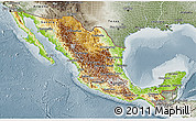 Physical 3D Map of Mexico, semi-desaturated