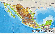 Physical 3D Map of Mexico, shaded relief outside
