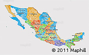 Political 3D Map of Mexico, cropped outside