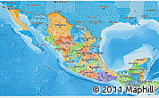 Political 3D Map of Mexico, political shades outside