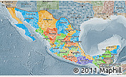 Political 3D Map of Mexico, semi-desaturated
