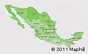Political Shades 3D Map of Mexico, cropped outside