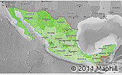 Political Shades 3D Map of Mexico, desaturated