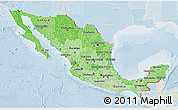 Political Shades 3D Map of Mexico, lighten