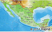 Political Shades 3D Map of Mexico, physical outside