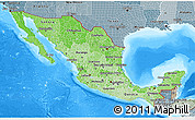 Political Shades 3D Map of Mexico, semi-desaturated, land only