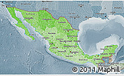 Political Shades 3D Map of Mexico, semi-desaturated