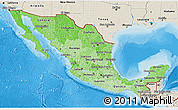 Political Shades 3D Map of Mexico, shaded relief outside, bathymetry sea