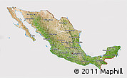 Satellite 3D Map of Mexico, cropped outside