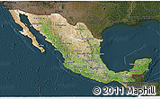 Satellite 3D Map of Mexico, darken