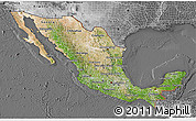 Satellite 3D Map of Mexico, desaturated