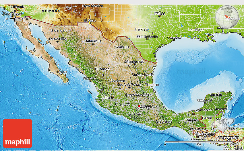 Satellite 3D Map of Mexico physical outside – Geographical Map of Mexico