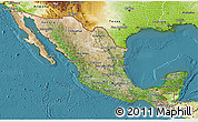 Satellite 3D Map of Mexico, physical outside, satellite sea