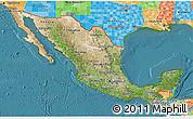 Satellite 3D Map of Mexico, political outside, satellite sea