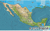 Satellite 3D Map of Mexico, political shades outside, satellite sea