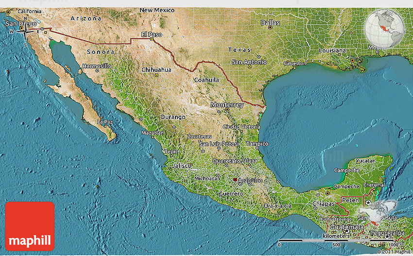 Satellite 3D Map of Mexico