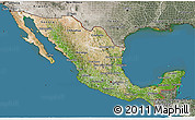 Satellite 3D Map of Mexico, semi-desaturated, land only