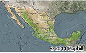 Satellite 3D Map of Mexico, semi-desaturated