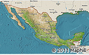 Satellite 3D Map of Mexico, shaded relief outside, satellite sea