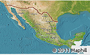 Satellite 3D Map of Mexico, single color outside