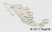 Shaded Relief 3D Map of Mexico, cropped outside