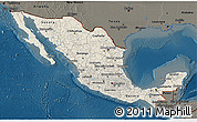 Shaded Relief 3D Map of Mexico, darken